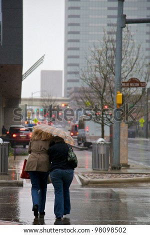 AUSTIN, TX - MAR 9: SXSW Interactive Conference on March 9, 2012 in Austin. Rain does not slow down Austin.