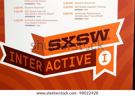 AUSTIN, TX - MAR 12: SXSWi 2012. SXSW Interactive Conference on March 12, 2012 in Austin, Texas. Schedule is displayed throughout the convention center.