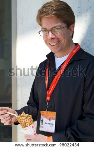 AUSTIN, TX - MAR 12: SXSWi 2012. SXSW Interactive Conference on March 12, 2012 in Austin, Texas. Attendee eating ice cream