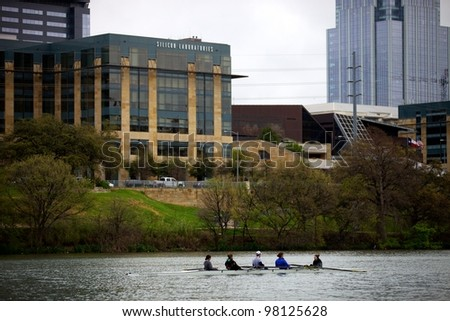 Austin, TX - March 9: SXSW Interactive Conference in Austin.   Rolling team practices on Lady Bird Lake