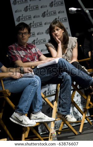AUSTIN,TX - OCT. 24: Bill Hader and his wife Maggie Carey at ' The Hand Job ' Script Reading at the Rollins Theatre during the 17th Annual Austin Film Festival on October 24, 2010 in Austin, TX.