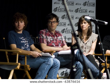 AUSTIN,TX - OCT. 24: Bill Hader and  Maggie Carey listen as Jessica Alba talks about ' The Hand Job ' Script during the Austin Film Festival on October 24, 2010 in Austin, TX.