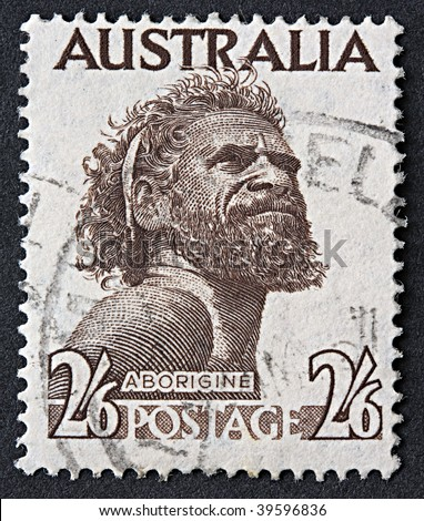 AUSTRALIA - 1952: An Australian postage stamp with an image of an Aborigine, circa 1952