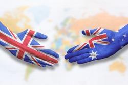 Australia and UK - Flag handshake symbolizing partnership and cooperation with the United Kingdom