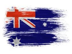 Australia.  Australian flag  on white background