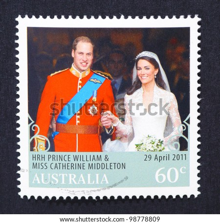 AUSTRALIA - CIRCA 2011: A postage stamp printed in Australia shows an image of Prince Williams and Kate Middleton royal wedding, circa 2011.