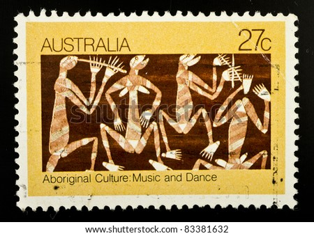 AUSTRALIA - CIRCA 1982: A stamp from Australia shows image celebrating the music and dance of Aboriginal culture, circa 1982