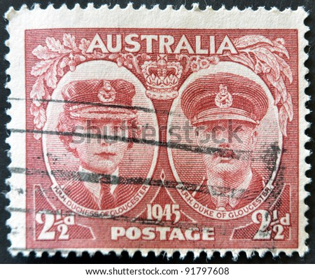 AUSTRALIA - CIRCA 1945: A stamp printed by Australia shows Duchess and Duke of Gloucester, circa 1945.