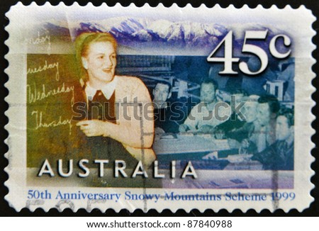 AUSTRALIA - CIRCA 1999: A stamp printed in Australia commemorating the 50th anniversary Snowy Mountains Scheme, circa 1999