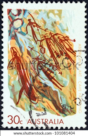 "AUSTRALIA - CIRCA 1971: A stamp printed in Australia from the ""Aboriginal Art"" issue shows a cave painting, circa 1971."
