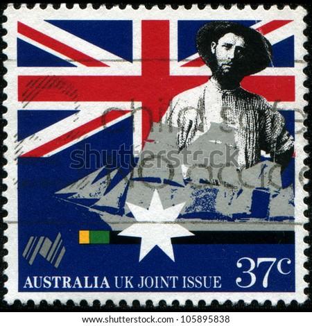 AUSTRALIA - CIRCA 1988: a stamp printed in Australia shows Australian colonist, first fleet vessel, Australia bicentennial, circa 1988