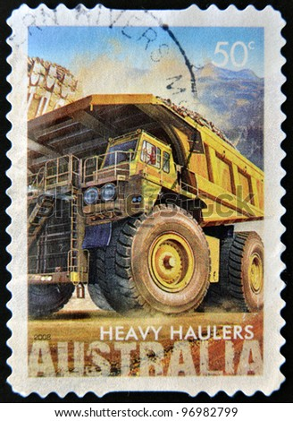 AUSTRALIA - CIRCA 2008 : a stamp printed in Australia shows heavy haulers machinery mining, CIRCA 2008