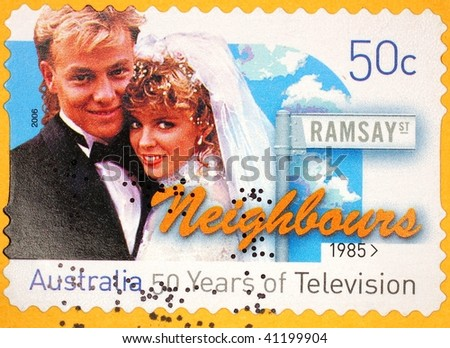 AUSTRALIA - CIRCA 2006: A stamp printed in Australia shows image celebrating the TV show Neighbours (1985-2006), series, circa 2006