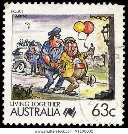 AUSTRALIA - CIRCA 1988: A stamp printed in Australia shows Living Together, celebrating police, series, circa 1988