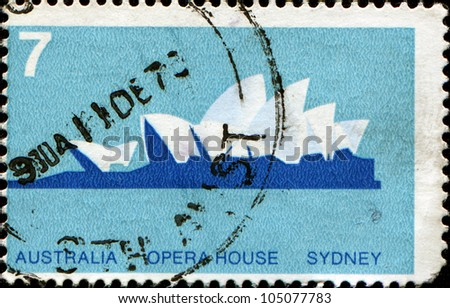 AUSTRALIA - CIRCA 1973: A stamp printed in Australia shows Opera House, Sydney, circa 1973