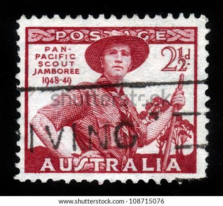 AUSTRALIA-CIRCA 1949: A stamp printed in Australia, shows Pan-Pacific Scout Jamboree, Victoria, portrayed Scout in Uniform, circa 1949