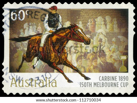 AUSTRALIA - CIRCA 2010: A Stamp printed in AUSTRALIA shows the Carbine, 1890 Winner, 150th Melbourne Cup issue, circa 2010