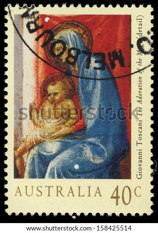 AUSTRALIA - CIRCA 1994: A Stamp printed in AUSTRALIA shows the Details from Adoration of the Magi, Madonna and Child, by Giovanni Toscani, Christmas series, circa 1994