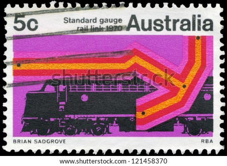 AUSTRALIA - CIRCA 1970: A Stamp printed in AUSTRALIA shows the Diesel Locomotive, Completion of the standard gauge Railroad linking Melbourne, Sydney and Brisbane with Perth, circa 1970