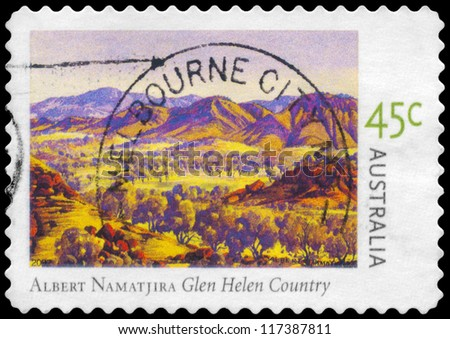 AUSTRALIA - CIRCA 2002: A Stamp printed in AUSTRALIA shows the Glen Helen Country, by Albert Namatjira (1902-1959), series, circa 2002
