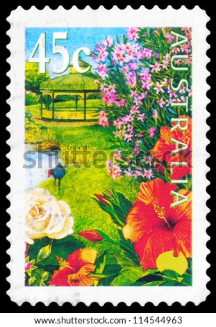 AUSTRALIA - CIRCA 2000: A Stamp printed in AUSTRALIA shows the Hibiscus, Pond, Rose, Nerium Oleander, Purple Swamphen, Gardens series, circa 2000