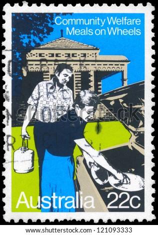 AUSTRALIA - CIRCA 1980: A Stamp printed in AUSTRALIA shows the Meals on Wheels, Community Welfare series, circa 1980