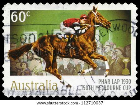 AUSTRALIA - CIRCA 2010: A Stamp printed in AUSTRALIA shows the Phar Lap, 1930 Winner, 150th Melbourne Cup issue, circa 2010