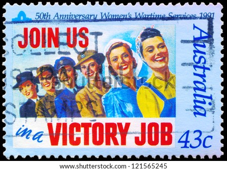 AUSTRALIA - CIRCA 1991: A Stamp printed in AUSTRALIA shows the Womens Wartime Services, 50th anniversary, circa 1991