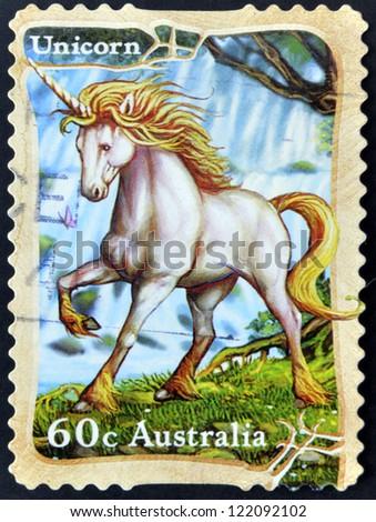 AUSTRALIA - CIRCA 2011: A stamp printed in australia shows unicorn,circa 2011