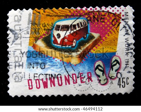 AUSTRALIA - CIRCA 1981: A stamp printed in Australia shows Volkswagen mini-van on a piece of toast on the ocean and beach slippers, circa 1981