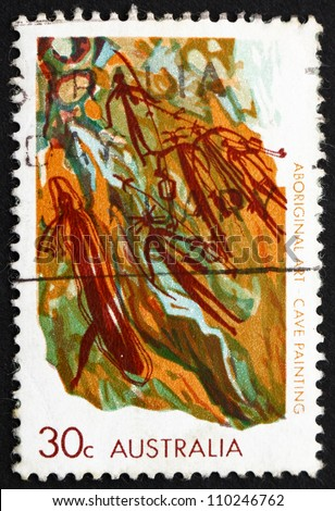 AUSTRALIA - CIRCA 1971: a stamp printed in the Australia shows Cave Painting, Western Arnhem Land, Aboriginal Art, circa 1971