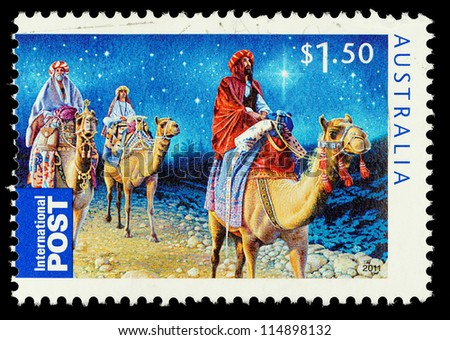 AUSTRALIA - CIRCA 2011: An Australian Used Christmas Postage Stamp showing the Three Kings riding on Camels, circa 2011