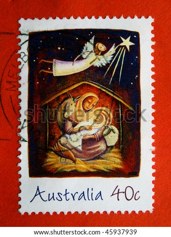 AUSTRALIA - CIRCA 2000s: A greeting Christmas stamp printed in Australia shows Madonna with child, circa 2000s