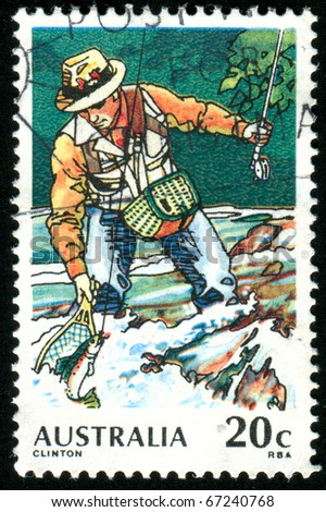 AUSTRALIA - CIRCA 1979: stamp printed by Australia, shows Trout Fishing, circa 1979