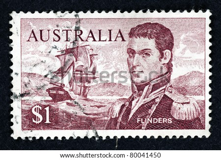 AUSTRALIA - CIRCA 1966: Stamp printed in Australia showing the portrait of Captain Matthew Flinders and HMS Investigator, circa 1966. Captain Flinders is the first man to circumnavigate Australia.