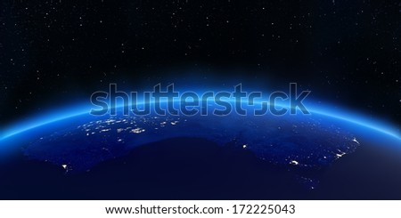 Australia city lights map. Elements of this image furnished by NASA
