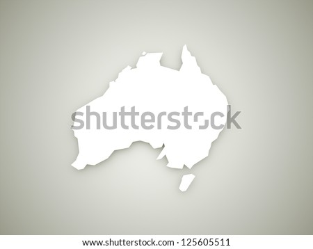 Australia continent map on dark background with shadows