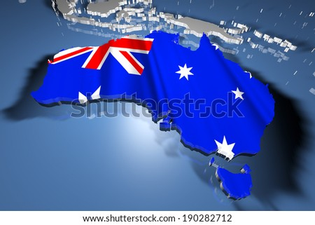 Australia Country Map on Continent 3D Illustration