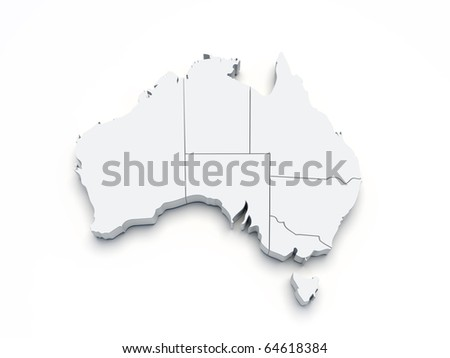 Australia 3D map on white isolated
