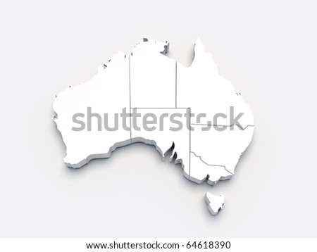 Australia 3D white map on gray isolated