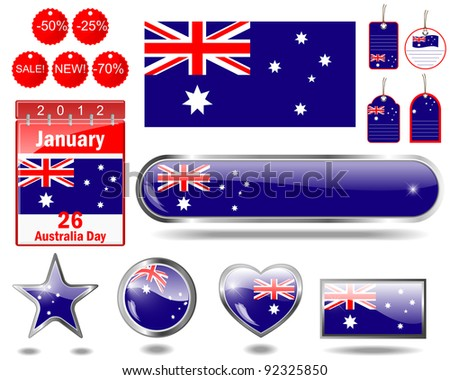 Australia day website icons. (flag, calendar icon, web buttons, sticker sale, tag, label) Raster version.