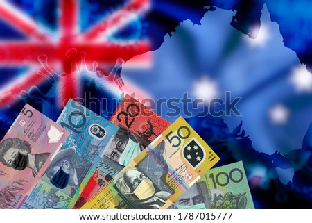 Australia dollar money bill with face mask on money notes over Australia flag and map blurred background, COVID-19 coronavirus in Australia.
