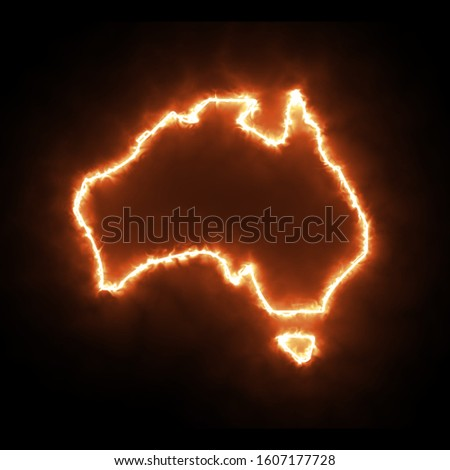 Australia Fire outline map on black background Fire in Australia wildfire bush-fire Map of Australia Fires