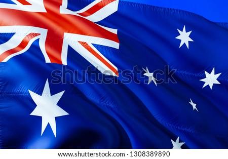 Australia flag. 3D Waving flag design. The national symbol of Australia, 3D rendering. National colors and National flag of Australia for a background. Oceania sign on smooth silk