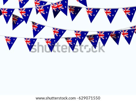 Australia flag festive bunting against a plain background. 3D Rendering #629071550