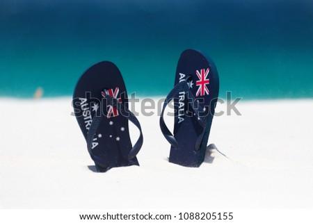 18d9a4b6b1f Australia Flag thongs in the sand by the beach in summer
