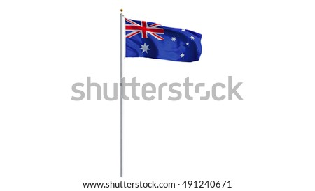 Australia flag waving on white background, long shot, isolated with clipping path mask alpha channel transparency #491240671
