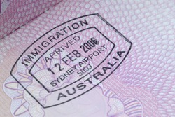 Australia immigration passport page rubber stamp, close up