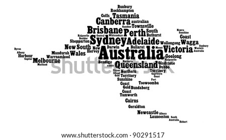 Australia main cities info-text graphics in the shape of kangaroo