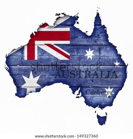 Australia Map And Flag On Wood - stock photo